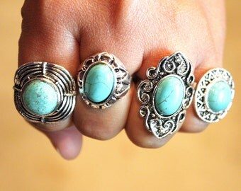 Fashion Artistic Adjustable Turquoise Stone Statement Rings big Rustic Antique Vintage style Silver plated
