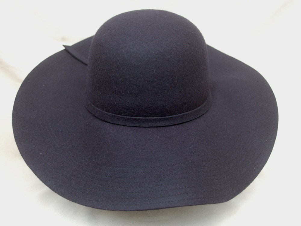 wide brim floppy navy wool felt large brim navy hat womens