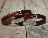 Leather dog collar - for cat or small dog - Personalized ID tag nameplate collar