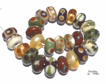 EQUINOX Handmade Lampwork Beads Mix of Ivory Cream Olive Sienna Brown Gold + Warm Autumn Fall Colors