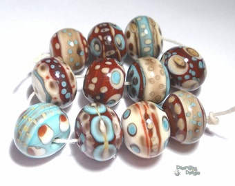 LAREDO Lampwork Beads Handmade - Sienna Brown Ivory Turquoise Chocolate Bold  - Set of 11