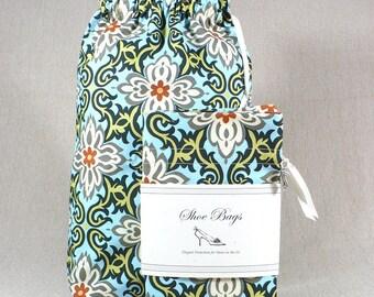 Travel shoe bags, Sky Blue, gray, black, medallion, drawstring bag, set of 2