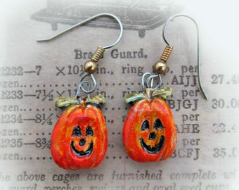 Halloween earrings,Jack O lantern earrings, fun earrings, Autumn earrings, pumpkin earrings,Fall earrings,   # H 2