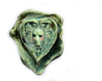 Victorian Bead - face Bead, flat bead, Ceramic bead, Focal necklace bead , handmade clay bead,     # 72