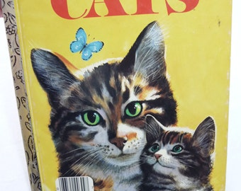 vintage Cats Book, Little Golden Book, vintage 1976, Childrens Book, hardcover book, colorful pictures, cat pictures, cat information,kitten