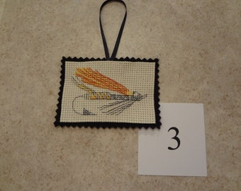 Fishing lure- ornament/magnet -cross stitched #3