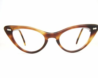Vintage 50s Tortoise Brown Cat eye Eyeglasses Sunglasses French Frame Excellent