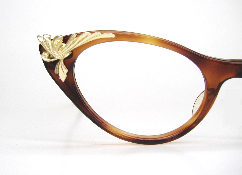 Vintage Eyeglass Frames Etsy : Vintage Decorative Cat eye Eyeglasses by Vintage50sEyewear ...