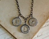 Clear Glass Button Necklace Upcycled Jewelry
