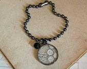 Antique Lace Bracelet, Gunmetal Ball Chain, Simple Soldered Jewelry