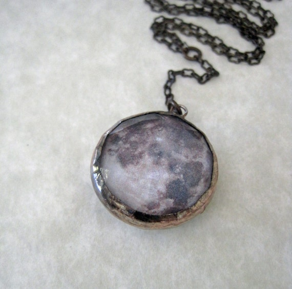 Full Moon Necklace Lunar Jewelry Glass Faceted Pendant