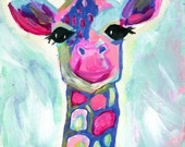 Giraffe Print Painting, Colorful Giraffe Art Print, Abstract 8x10 Blue, Green, Pink, Magenta, Whimsical Giraffe Painting
