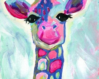 Giraffe Print Painting, Colorful Giraffe Art Print, Abstract 8x10 Blue, Green, Pink, Magenta, Whimsical Giraffe Painting