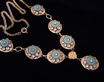 Vintage 1950s Robins Egg Blue Disk and Rhinestone Lavalier Necklace