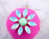 Rhinestone Daisy Flower Pendant Charm Vintage Set Stones Aquamarine Sabrina and Light Green 30mm .