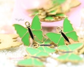 Lime Green Vintage Style Butterflies Charms Pendants - 4
