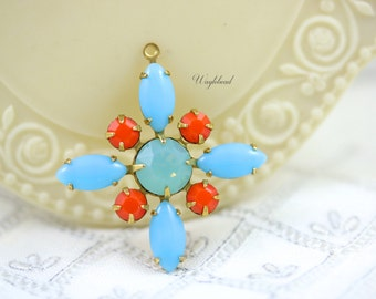 Light Blue Coral Pacific Green Opal Starburst Pendant Vintage Stones Swarovski Crystal Brass Setting 30mm