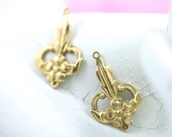 Art Deco Raw Brass Filigree Stamping Floral Botanical Flower Charms 24x15mm Connectors Links - 4