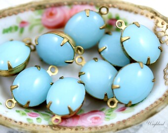 12x10mm Set Stone Connector Vintage Glass Oval Stones Closed Back Brass Prong Settings Light Blue - 4