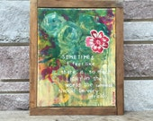 Original Painting - LIGHT - Vintage Embroidery and Stitching - Barn wood Frame