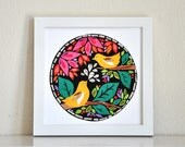 Yellow Songbirds - Midnight Garden Collection - 8x8 Print by Megan Jewel Designs