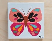 Original Paper Collage on Canvas - Pink & Black Butterfly - One of a Kind by Megan Jewel