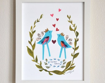 Together Forever - 8x10 Fine Art Print, Wedding Gift, Engagement Gift, Anniversary Gift, Megan Jewel, Gift for Couple, Lovebirds, Two Birds