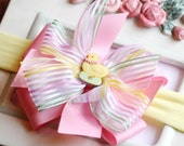 SALE Easter Chick Pink and Pastel Rainbow Bow Stretch Headband Photography Prop