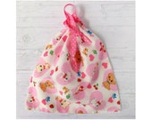 Retro Pets Pouch Drawstring Bag Kitten Puppy Bunny Pink Hearts Drawstring Pouch Small Tote Bag Room Decor for Girls Teens Women