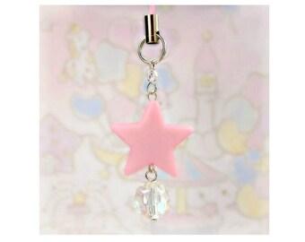 Cute Cell Phone Strap Charm Zipper Pull Pastel Light Pink Star Iridescent Bead Fairy Kei Sweet Lolita