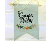 Carpe Diem Pennant hand embroidery pdf pattern instant download