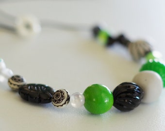 CLEARANCE SALE!!  Green Kelly Chunky Beaded Necklace--Adjustable--Metal Free