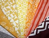 DIY Organic Baby Blanket Kit - Sun and Sand - Yellow Orange Brown Gray - Unisex Cotton Rag Quilt Kit - Birch Organics - Cloud9 Fabrics