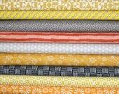 Organic Cotton Bundle - Birch Organic Fabrics- Cloud9 Organics - Unisex Baby Fabric- Black Yellow Gold Orange Gray - in half yards