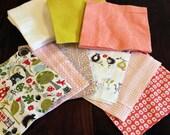 DIY Organic Baby Blanket Kit - Rag Quilt Kit - Red Pink- Woodland Organic Cotton - Organic Cotton Flannel- Baby Girl -Prewashed Ready to Sew