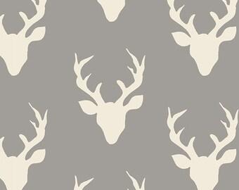 Hello, Bear, Fabric, Buck Forest, Mist, Gray, White, Grey, Stag, Antlers, Art Gallery Fabrics, Baby, Boy, Unisex, Girl, In Custom Cuts