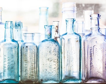 A Bottle Sea Fine Art Photography Vintage glass bottles Antiques Aqua Blue Green Turquoise Large wall Art lavender glass femine rustic home
