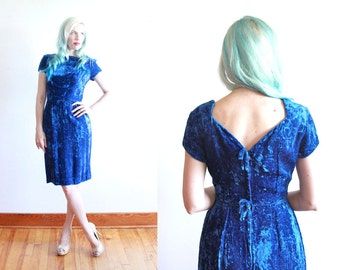 1960s wiggle dress | cobalt blue velvet dress | size xs