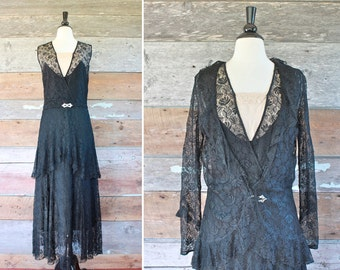 1930s dress / 30s black lace dress with jacket / 1930s evening gown / size l