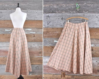 "1970s plaid wool skirt / peach wool full sweep skirt / waist 30"""