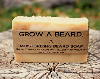 Beard Soap- All- Natural Shampoo and Conditioner for the Beard. Smoky Cedar and Clove with Blackstrap Molasses. 5oz Bar.