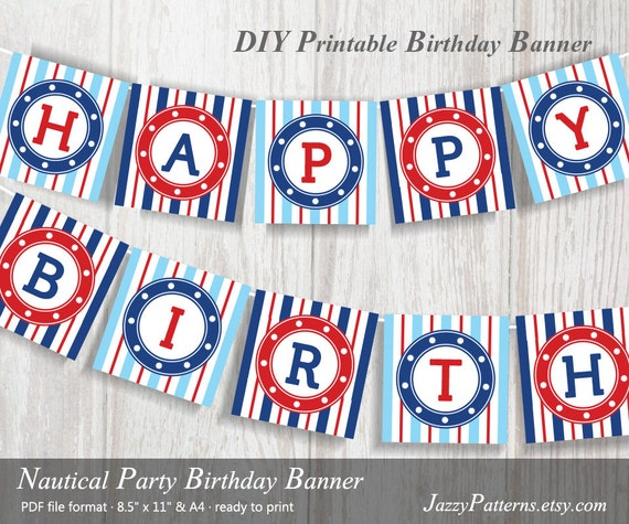 DIY Nautical Happy Birthday Banner In Red And Blue PB010
