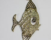 Gold Tone Articulated Fish Pendant Necklace Mod Bold Vintage