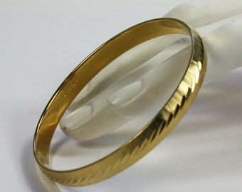 Monet Gold Tone Bangle Bracelet Signed Etched Design Vintage