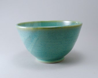 Pottery Serving Bowl, Ceramic Serving Bowl, Teal Pottery, Stoneware Bowl