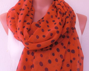 Polka Dot Scarf ,Women Scarf Chiffon scarf Turkish  Pastel Summer Scarf gift for her   Boho Scarf Coral Red  Women fashion Gift for Women