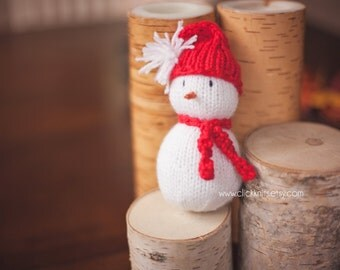 Baby's First Knitted Snowman - newborn baby photo prop, Christmas, Snuggy