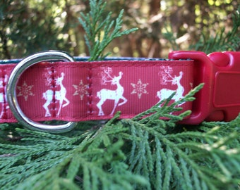 Christmas Holiday White Reindeer Dog Collar In M - L - XL Side Release Buckle Style