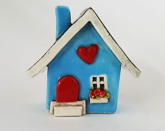 Little Clay House | Ceramic House | Miniature House | Whimsical house | Blue House | Fairy House Hearthome by Beth Macre