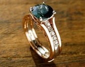 Teal Blue Sapphire Engagement Ring with Diamonds in 14K White Gold and Wedding Band Wrap Jacket in 14K Rose Gold Size 6.5